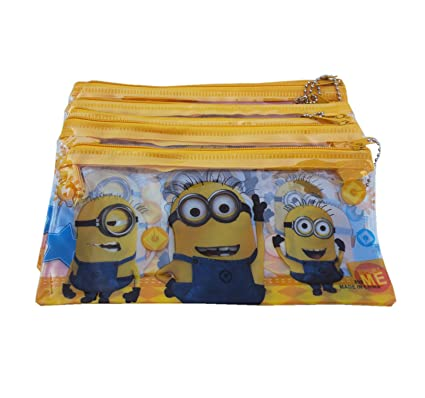 Asera 24 Pcs Kids Plastic Pencil Pouch For Birthday Return Gifts Minions Design