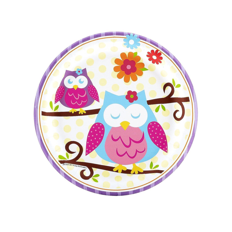 Owl Blossom Dessert Plates (8) Party Supplies by BirthdayExpress by BirthdayExpress