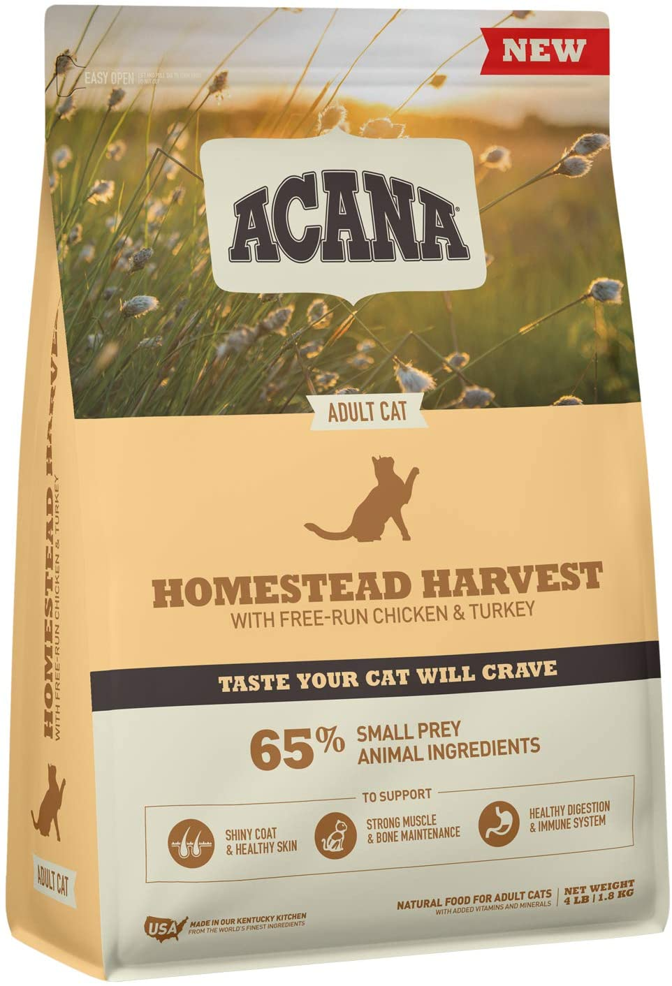 Acana Dry Cat Food, Homestead Harvest, Chicken, Turkey, and Duck, 4lb