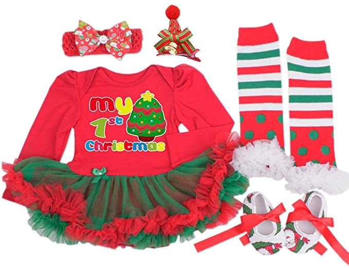 baby girls christmas outfit tutu dress leggings hairband hair clips shoes 5pcs small