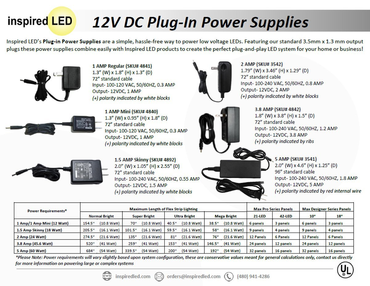 1 amp, 12VDC Power Supply, for use with Inspired LED\'s Under Counter ...