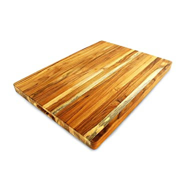 Terra Teak Cutting Board, Extra Large - 24 x 18 x 1.5 Inch - 100% Premium Teak