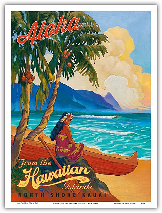 Hula Dancer with Ukulele Vintage Hawaiian Travel Poster by Kerne Erickson 9in x 12in Pacifica Island Art Hawaii Master Art Print Aloha