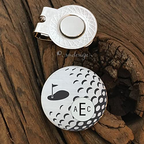 Monogram Golf Ball Marker Personalized Birthday Gift For Him Valentines Day Husband