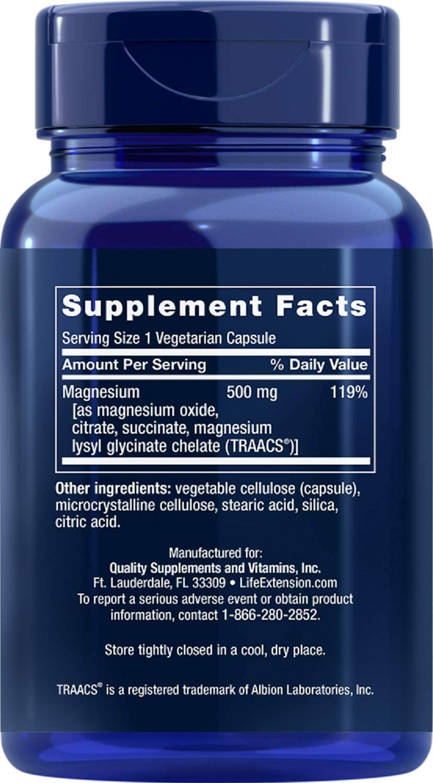 Life Extension Magnesium 500mg, 100 Vegetarian Capsules: Health & Personal Care