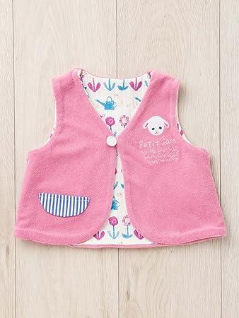 7509b6c70d31a Petit jam プチジャム ベビー リバーシブル ベスト 赤ちゃん ベビー服 羽織もの 防寒対策 女の子 60㎝ ピンク