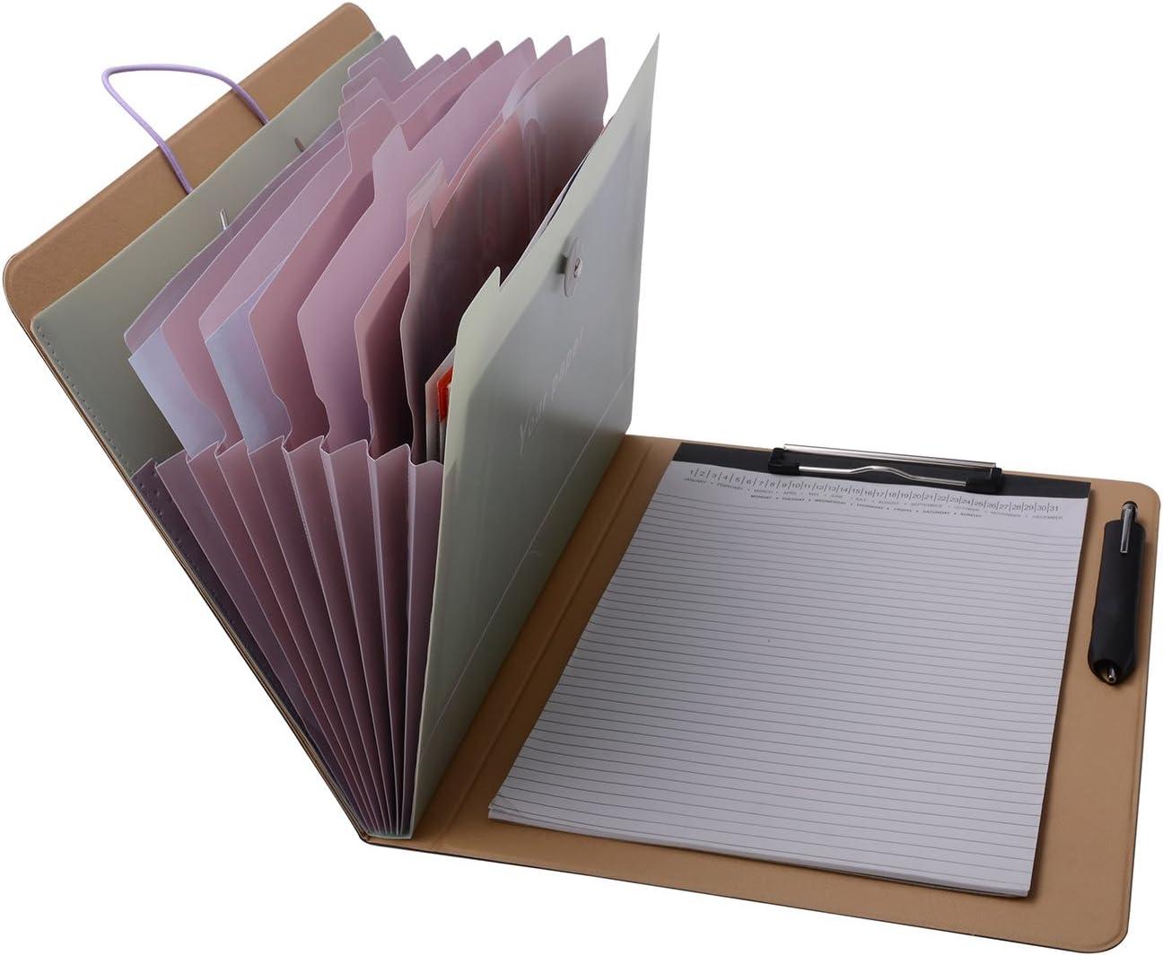 Notepad Portfolio with Expanding Files Folder, A4 Expandable File Organizer Business File Organizer Portfolio Case