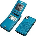Vaburs iPhone Xr Case with Wallet Card Holder,Embossed Mandala Pattern Flower