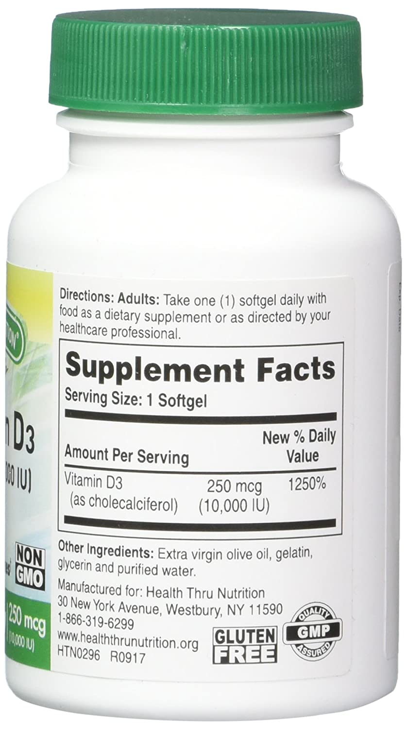 Amazon.com: Health Thru Nutrition Vitamin D3 10,000 Iu Non-GMO Mini  Softgels, 360 Count: Health & Personal Care