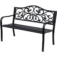 Outsunny Banc 3 Places de Jardin terrasse Style Cosy Chic 127L x 60l x 85H cm métal époxy anticorrosion Noir