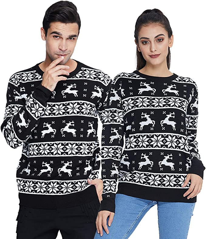 Women Men Ugly Christmas Sweaters Funny Pullover Long Sleeve Knitted ugly Christmas sweaters couples