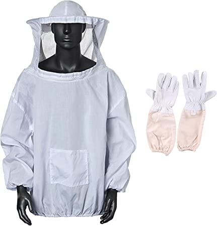 Bee Keeper Suit Beekeep Veil Hood Jacket Outfit Hat Sting Full Body White