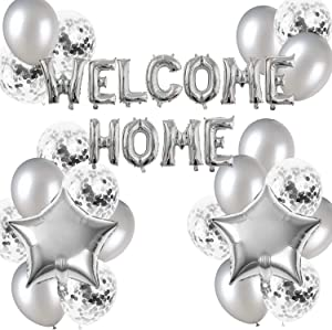 JumDaQ Welcome Home Letter Balloon Banner with Star Confetti Balloons for Home Family Party Decorations(24 Pack) (Silver)