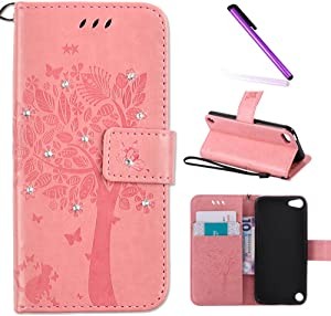 iPod Touch 5 Case,iPod Touch 6 Case,LEECOCO Embossed Floral Bling Diamonds Butterfly with Card Slots Flip Stand PU Leather Wallet Case for iPod Touch 5th 6th Generation Wishing Tree Pink