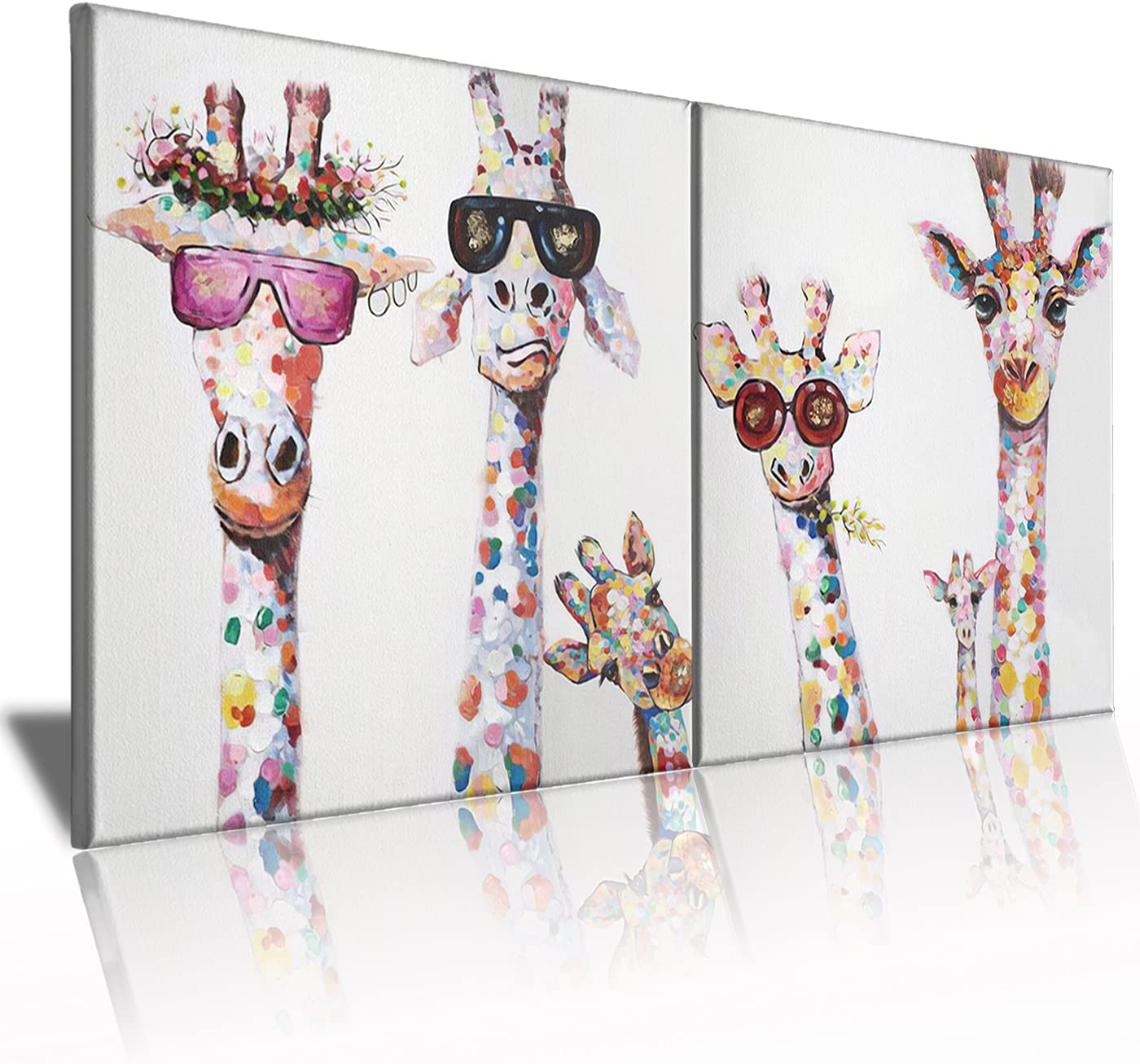 Funny Animal Canvas Wall Art Decor Lovely Giraffes Family Cartoons Painting Prints Picture Framed Stretched Wall Decoration Bedroom Kids Nursery Room Gift