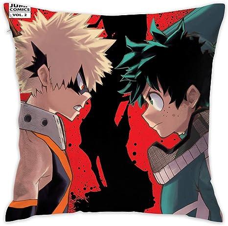 wrenho my hero academia deku bakugo polyester fleece cool anime square hug pillowcase 18x18 inch
