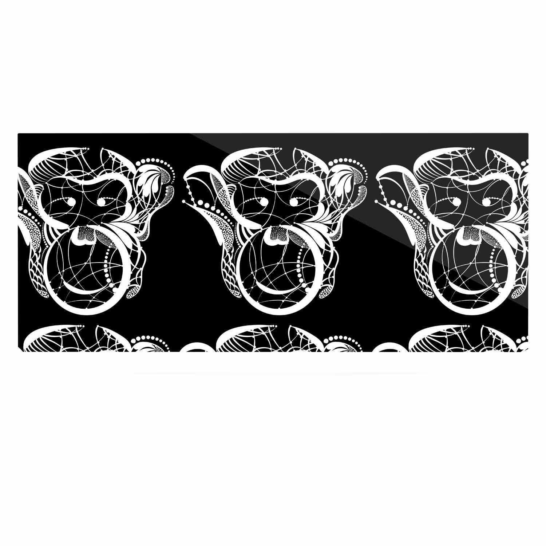 24 x 36 Kess InHouse Maria Bazarova Monkey White Animals Luxe Rectangle Panel
