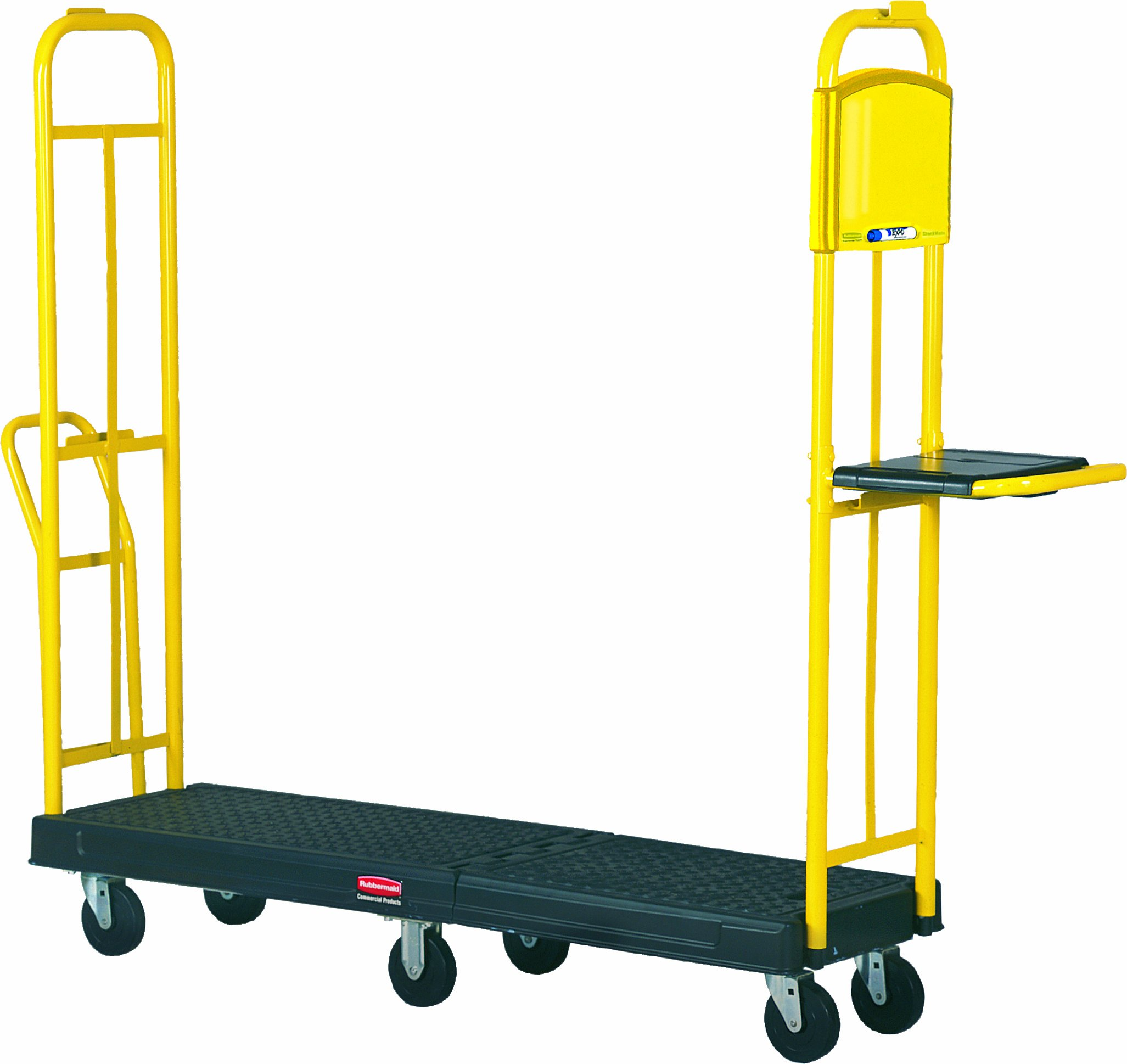 Rubbermaid Commercial FG9T4500BLA StockMate ES Restocking Platform Truck with Hinging Deck, 1800-Pound Capacity, Black