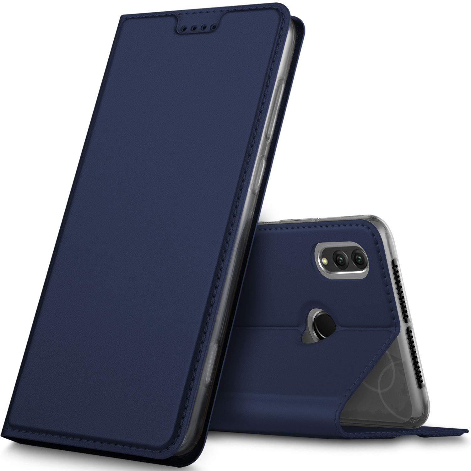 Honor Note 10 case, KuGi Huawei Honor Note 10 case, Ultra-Thin DD Style PU Cover + TPU Back Stand Case for Huawei Honor Note 10 Smartphone(Navy)