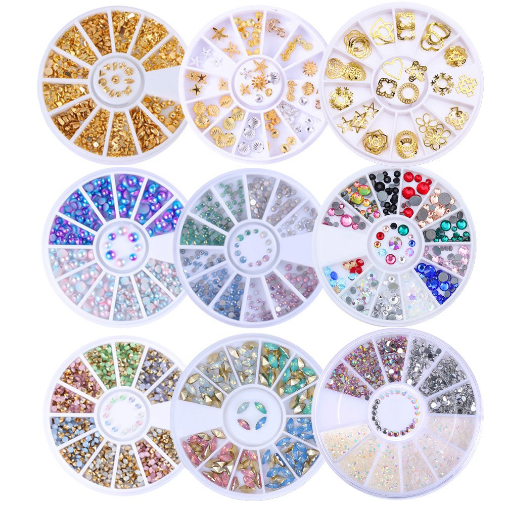 BORN PRETTY 9 Boxes Nail Art Rhiestone Wheel AB Color Gold Rivet Crystal Mixed Size Manicure 3D Decoration