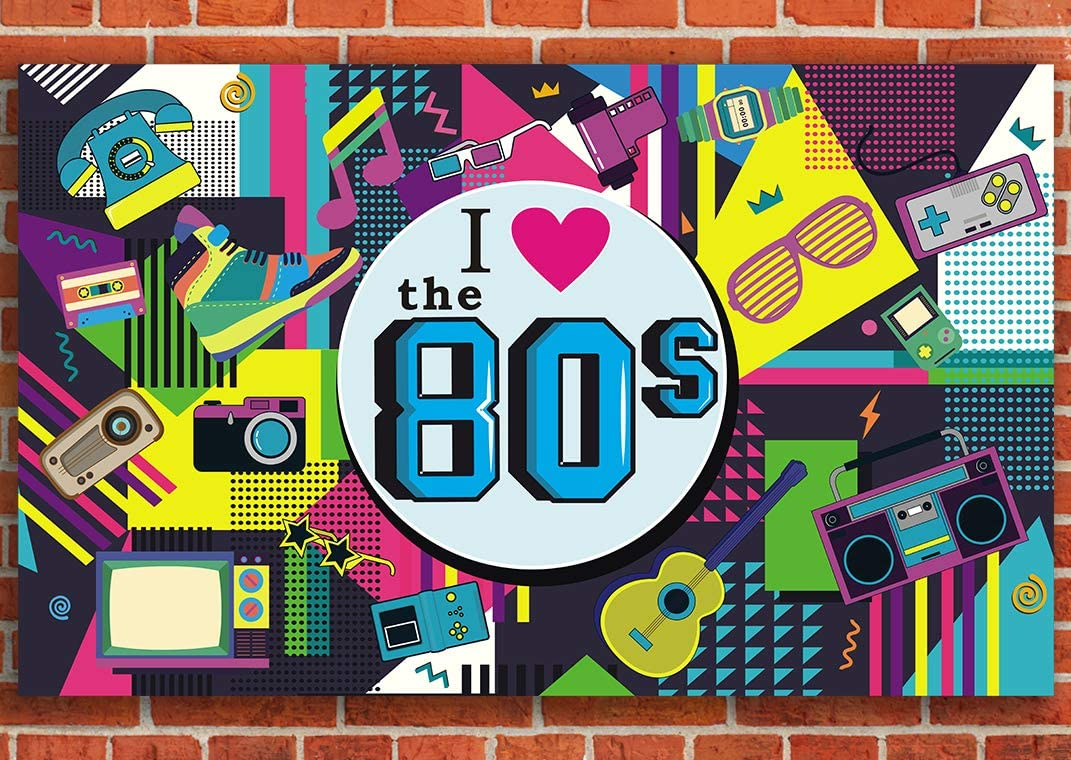 80's PartyBanner Backdrop Decorations Wall Hip Hop Birthday Photo Booth Props Supplies