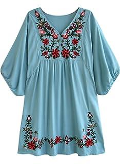 41656a614ae932 futurino Women s Bohemian Embroidery Floral Tunic Shift Blouse Flowy Mini  Dress