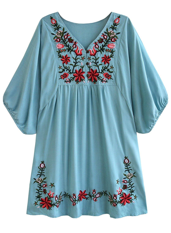 futurino Women s Bohemian Embroidery Floral Tunic Shift Blouse Flowy Mini  Dress at Amazon Women s Clothing store
