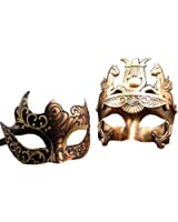 Gold / Black Glitter Women Mask & Gold Roman Warrior Men Mask Venetian Couple Masks For Masquerade / Party / Ball Prom / Mardi Gras / Wedding / Wall Decoration