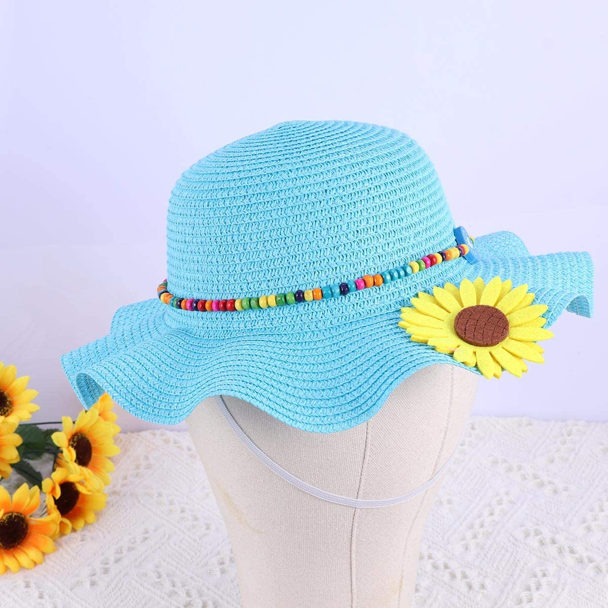 FENICAL Kids Sun Hat Beach Straw Summer Cap Floppy Sun Hat Sunflower Beads for Childern 1pc Blue