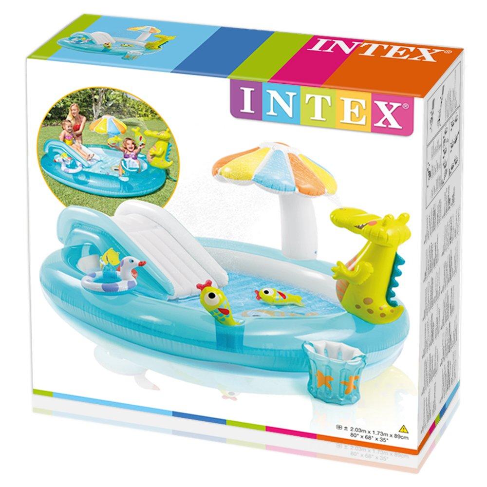 Intex Kids Inflatable Play Centre Slide Swimming Paddling Pool Water Dino Castle Ebay