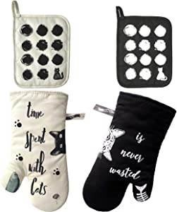 GREVY Cotton Oven Mitts and Pot Holders 4 PCS Kitchen Set,Cats Print (Ivory Black 4-Packs)