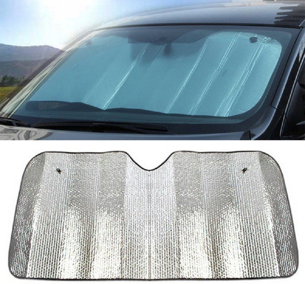 Hosaire Sonnenblende fü r die PKW-Windschutzscheibe, hervorragender UV-Schutz und bedienungsfreundlicher Sonnenreflektor, silberner Sonnenschutz, 140 x 70 cm