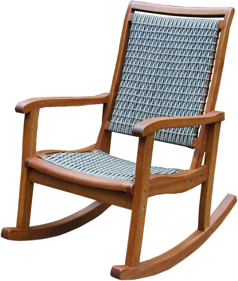 Outdoor Interiors Resin Wicker and Eucalyptus Outdoor Rocking Chair