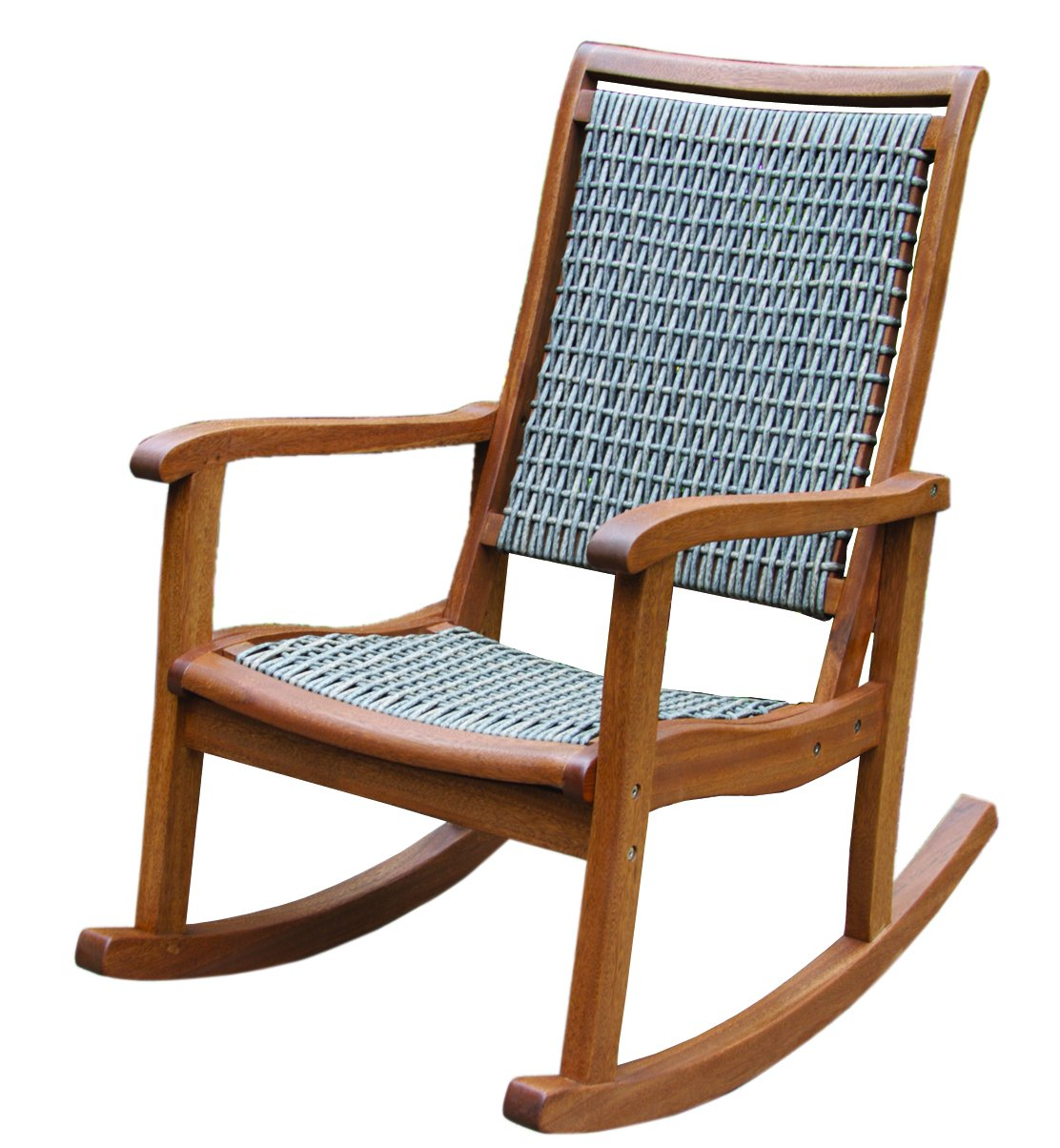 Amazon.com : Outdoor Interiors Resin Wicker And Eucalyptus Rocking Chair,  Brown And Grey : Garden U0026 Outdoor