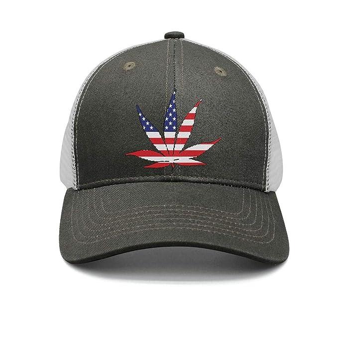 b47a38c3567 American Flag Pot Leaf Marijuana Freedom Unisex Army-Green Basketball Dad  Hat for Mens Womens