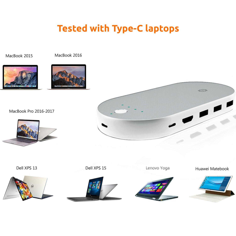 Urbo PowerHub 6-en-1 Multiplicador de Puerto Type-C con 3 Puertos USB 3.0, 2 Puertos Type-C, 1 Puerto HDMI Combinado con Banco de Energía de 5000 mAh ...