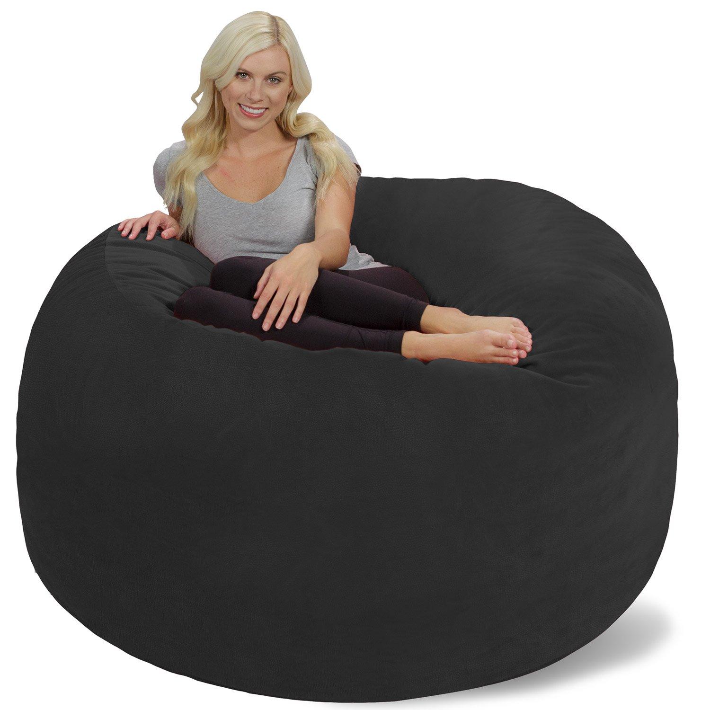 Chill Sack Bean Bag Chair: Giant 6' Memory Foam Furniture Bean Bag - Big Sofa with Soft Micro Fiber Cover - Dark Grey Pebble by Chill Sack