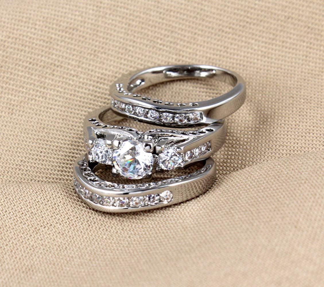 Goldenchen Fashion Jewelry Size 6-10 Three-in-One Engagement Rings Set Wedding Rhodium 925 Sterling Silver CZ Crystal Wedding Rings 6