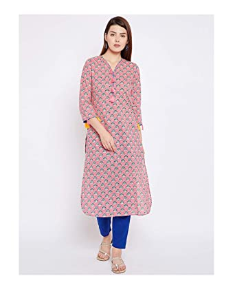 30752a039cd6 Amazon.com  Hiral Designer mall Indian Women Kurta Pink Printed Straight  Kurta party ware Kurti for Women Tunic Top 3 4Sleeve Dress. (S)  Clothing