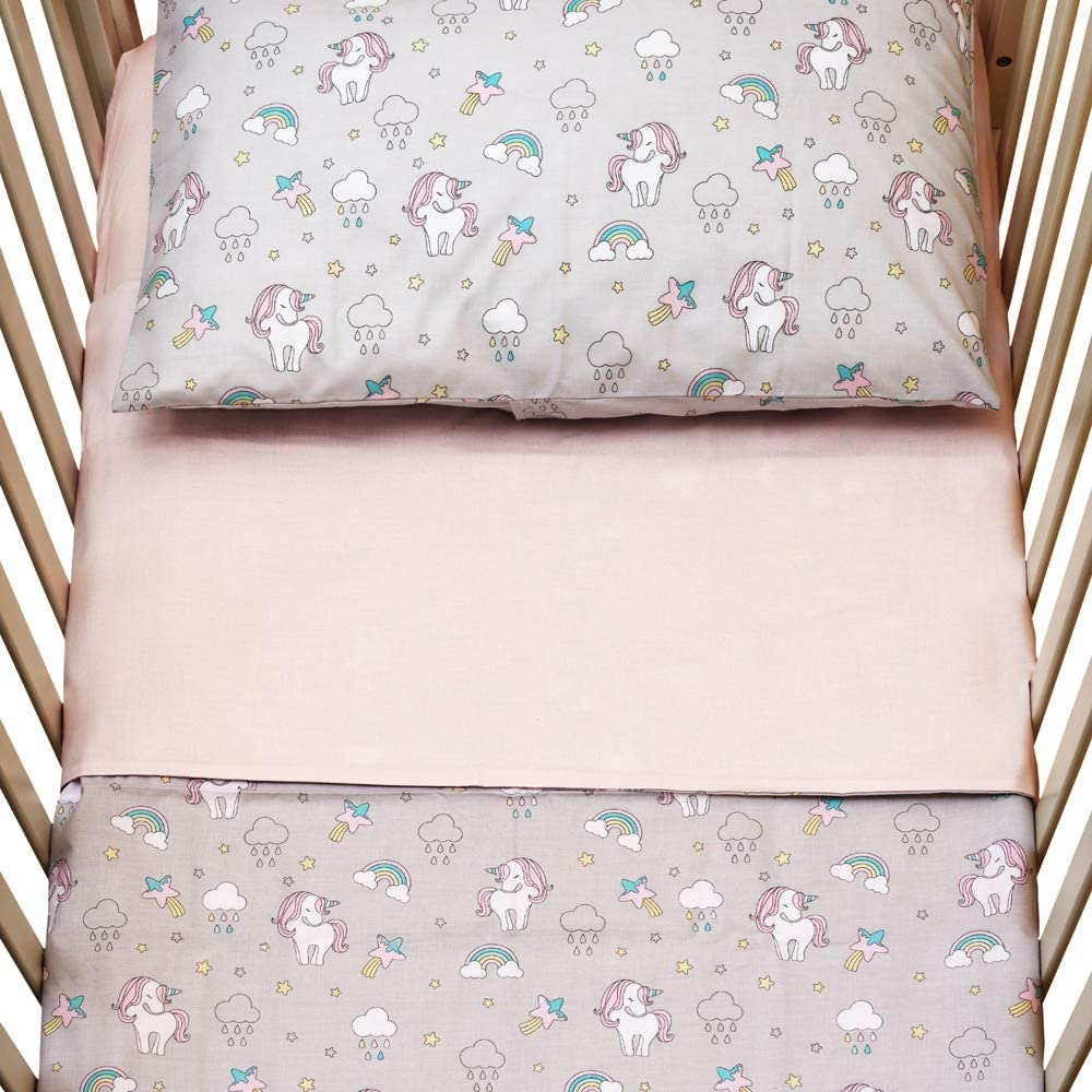 reversible sheet baby bedding great gift 60x120cm pink unicorns Cangoo Set of 3 sheets for cot 100/% cotton