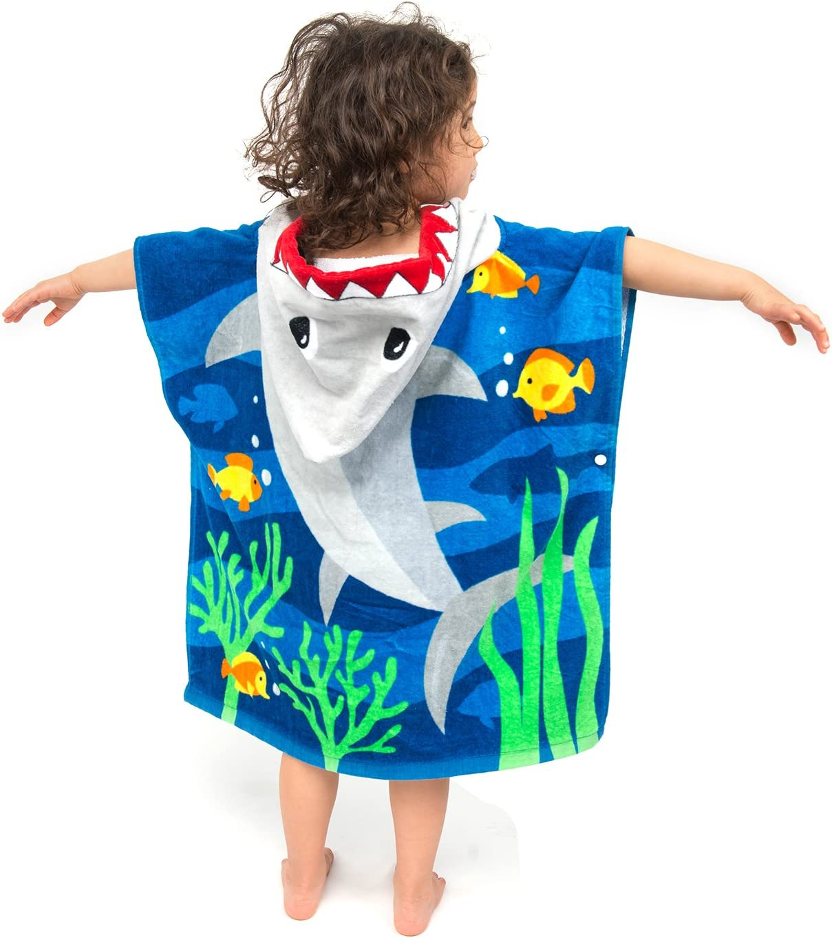 """ZINGLIFE Hooded Towels for Kids Baby Boys Girls Toddlers Child Poncho Bath Towel for Beach Pool 100% Cotton Ultra Breathable Soft Enough Thick for Winter Size 24"""" x 47""""(Brave Shark)"""