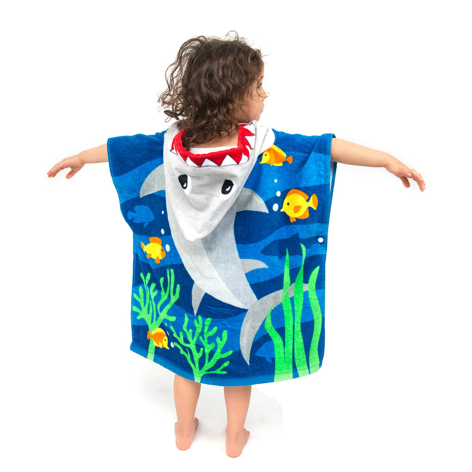 ZINGLIFE Hooded Towels for Kids Baby Boys Girls Toddlers Child Poncho Bath Towel for Beach Pool 100% Cotton Ultra Breathable Soft Enough Thick for Winter Size 24'' x 47''(Brave Shark) by ZINGLIFE (Image #1)