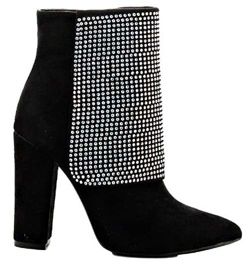 Beautiful-35 Ankle High Block Heel Pointed Toe Rhinestone Embellished Boots BlackBlack
