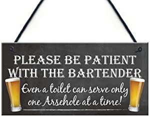 MAIYUAN Please be Patient with The Bartender Wood Signs Funny Pub Landlord Alcohol Gift Hanging Plaque Man Cave Sign 10x5(35BW903)