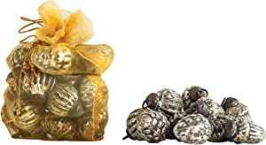 Creative Co-op Embossed Antique Silver Mercury Glass Ornaments (Set of 36 in Organza Bag) OrnamentOrnament