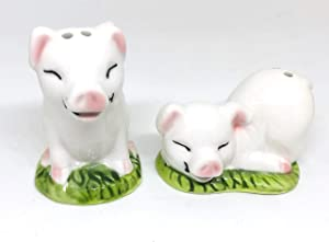 Mini Pigs Ceramic Salt & Pepper Shakers - 2-pc Set - Fun Kitchen Accessories - Novelty Farmhouse Table Decor - Cute and Collectible Shaker Set, Makes a Great Gift!