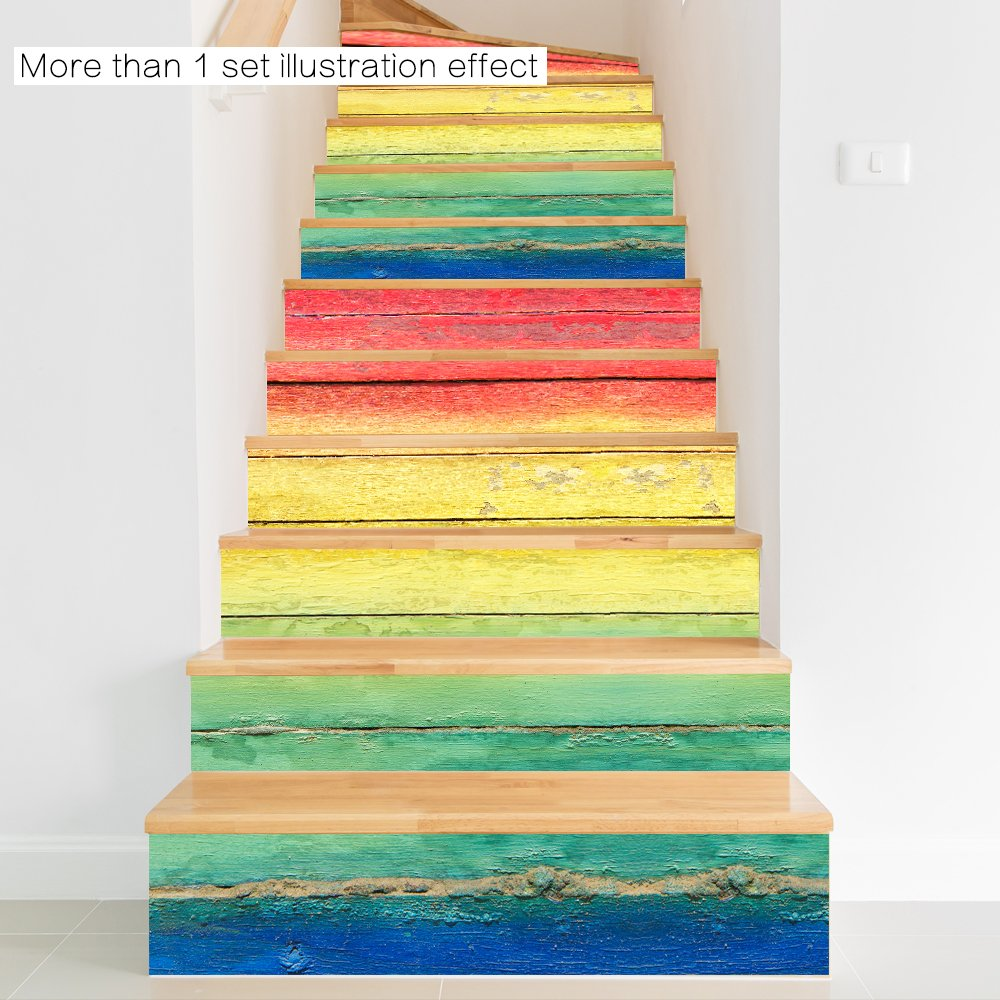 Funlife wall stickers stair riser decal rainbow wooden pattern ...