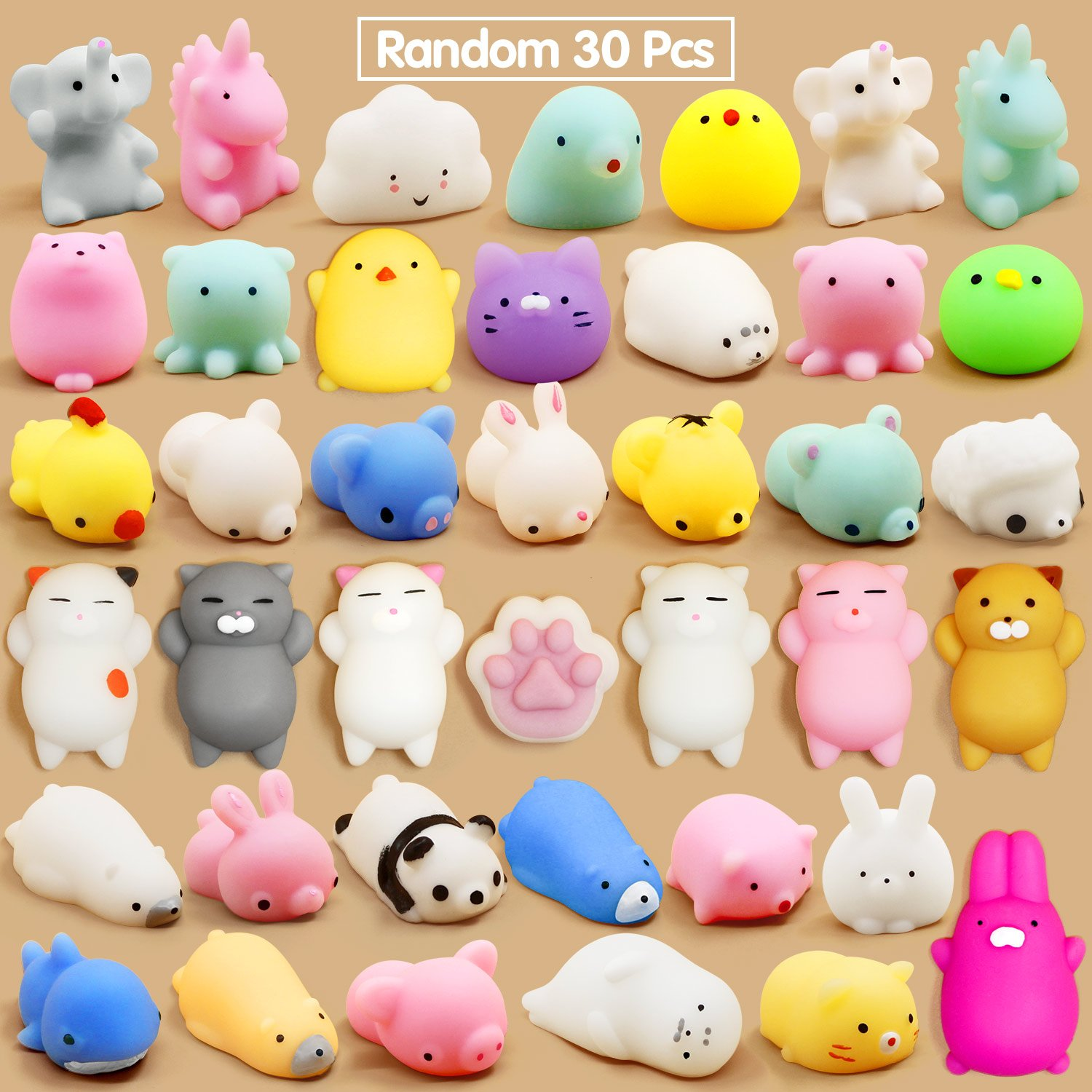 Calans Mochi Squishy Toys, 30 Pcs Mini Squishy Party Favors for kids Animal Squishies Stress Relief Toys Cat Panda Unicorn Squishy Squeeze Toys Kawaii Squishies Birthday Gifts for Boys & Girls Random by Calans