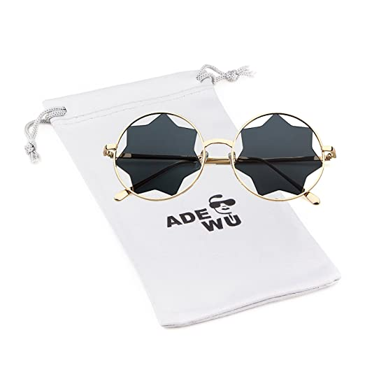 7772c8c38c9 Amazon.com: Round Sunglasses Trendy Unisex Glasses Star Mirrored ...