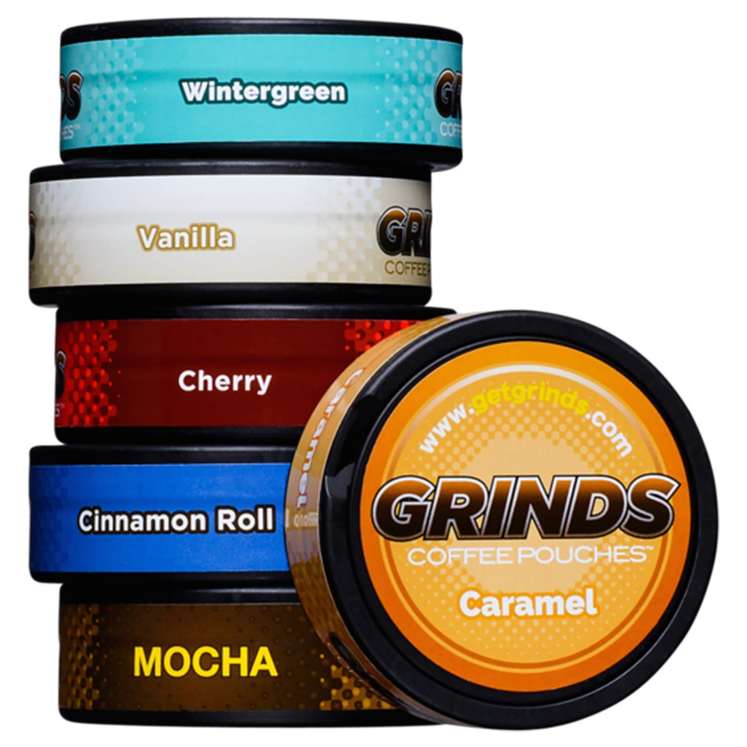 Grinds Coffee Pouches - New 6 Can Variety Pack (with Wintergreen & Cherry) - Tobacco Free, Nicotine Free Healthy Alternative by GRINDS